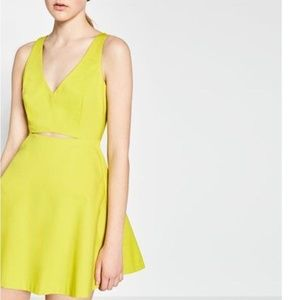 Lime Tummy Cut Out Cocktail Fit and Flare Dress